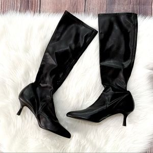 Delman | Black Leather Calf High Heeled Boots